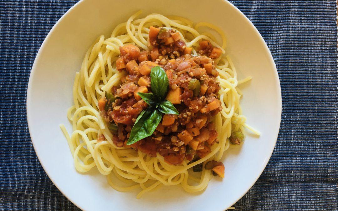 Spaghetti Bolognese vegan opt. glutenfrei
